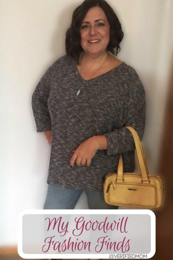 My Fall Goodwill Sweater and Handbag