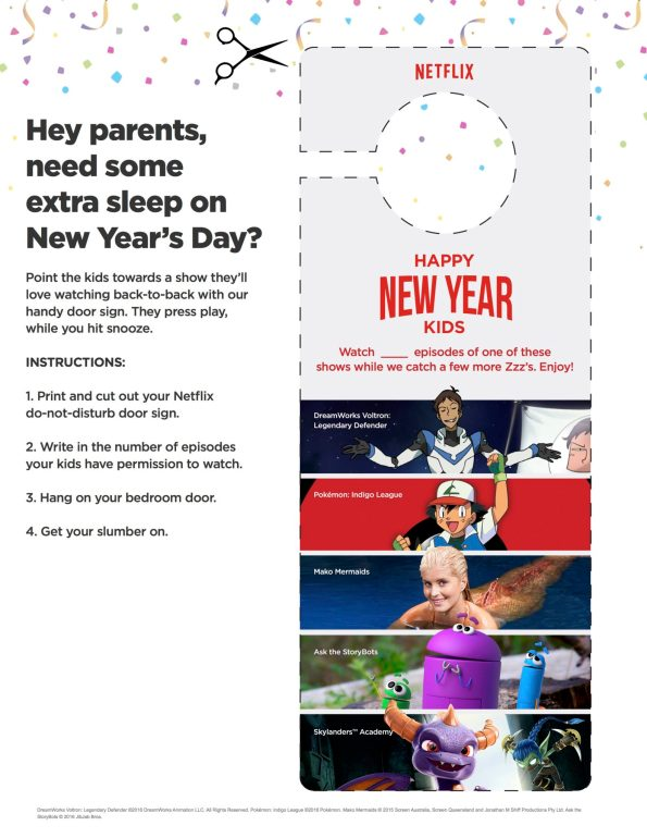 Printable New Years Eve Doorhanger