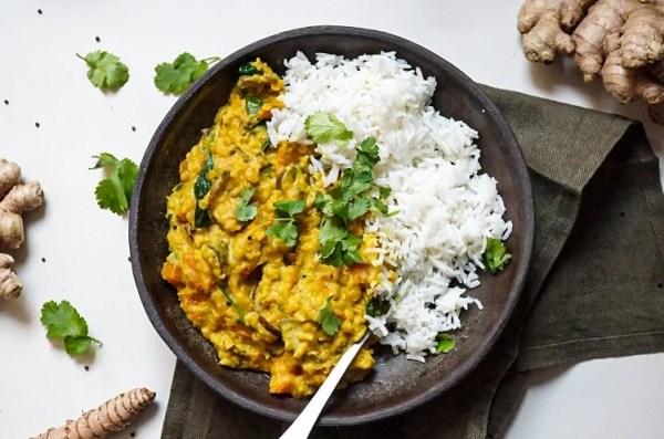 Dhal con verduras y arroz basmati - Recetas - Veritas