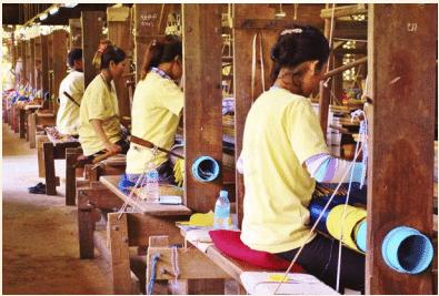 Women weaving in factory