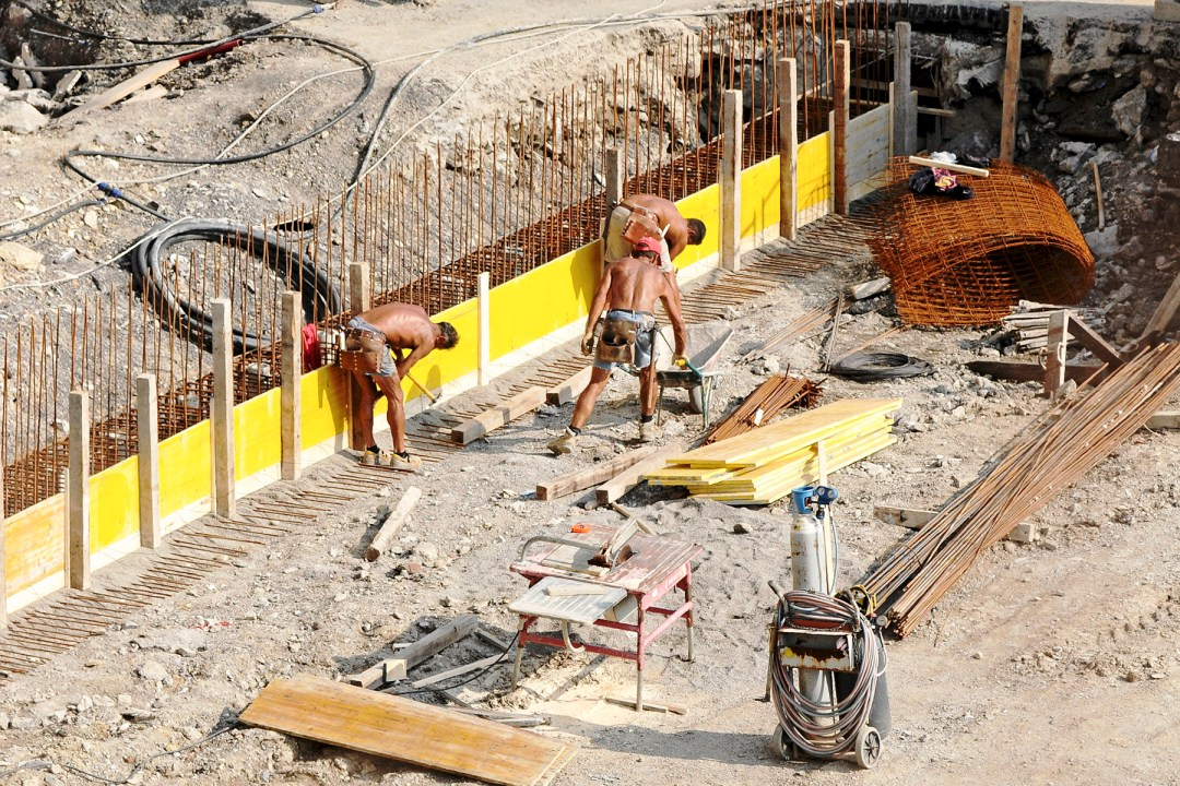 Construction workers in the heat