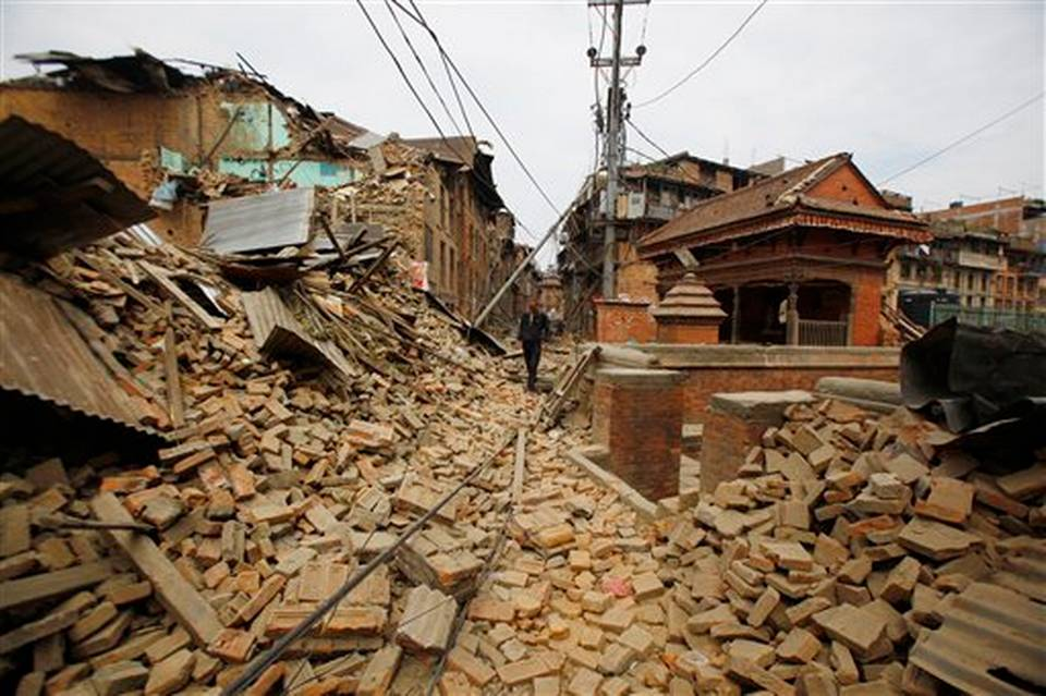 Housing rubble from the Nepal Earthquake