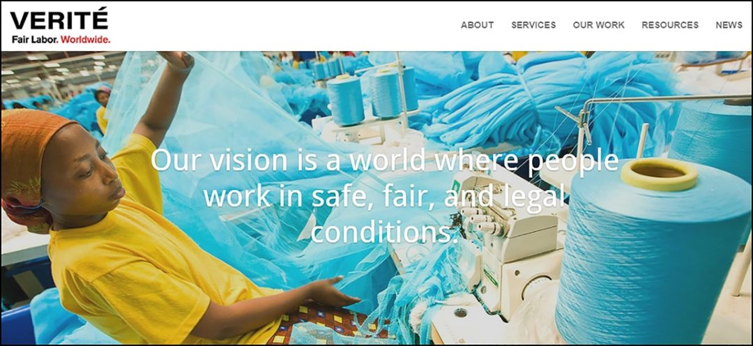 Image of new Verite website, woman sewing in a factory