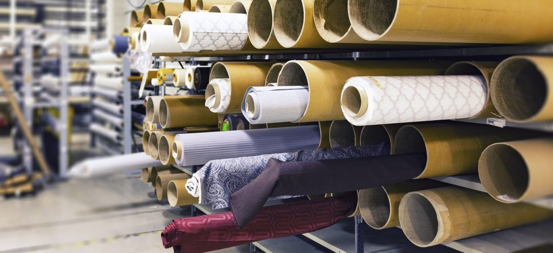 Rolls of Fabric on a Factory Floor