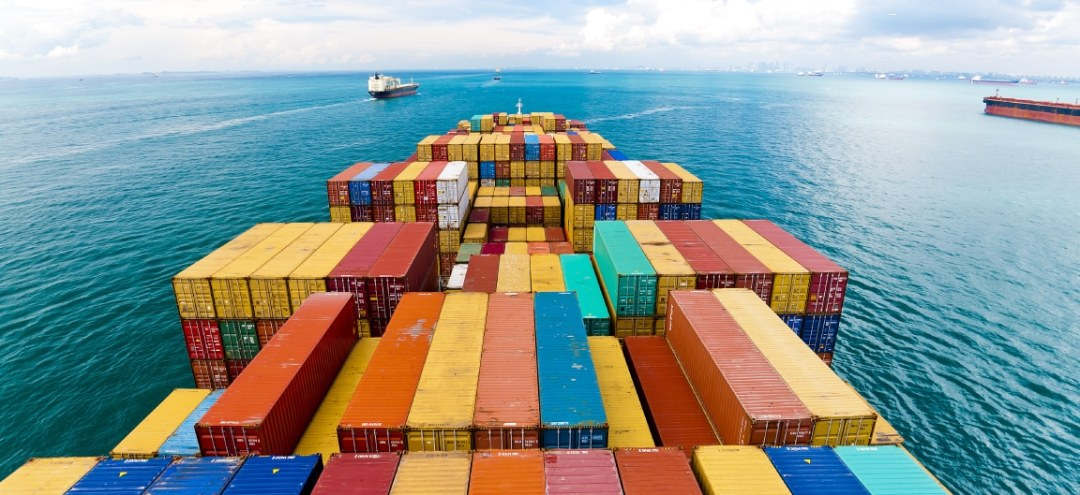 Shipping containers on the open sea