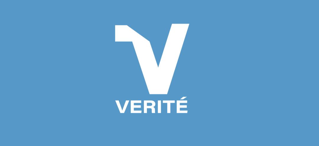 Verite Logo on Blue Background