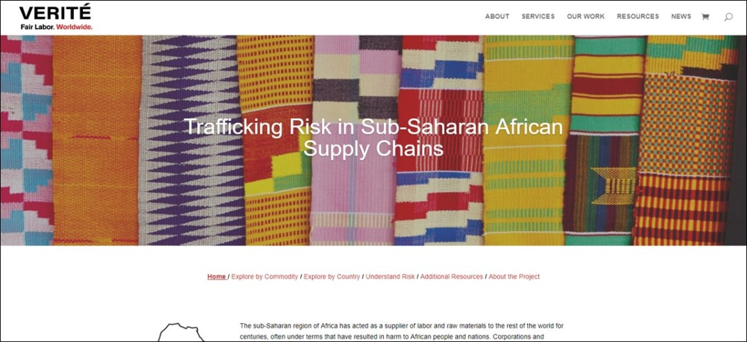 Trafficking Risks in Sub-Saharan African Supply Chains Website