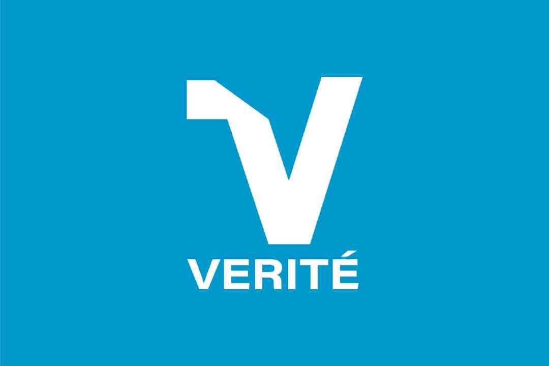 Verite Logo with Light Blue Background