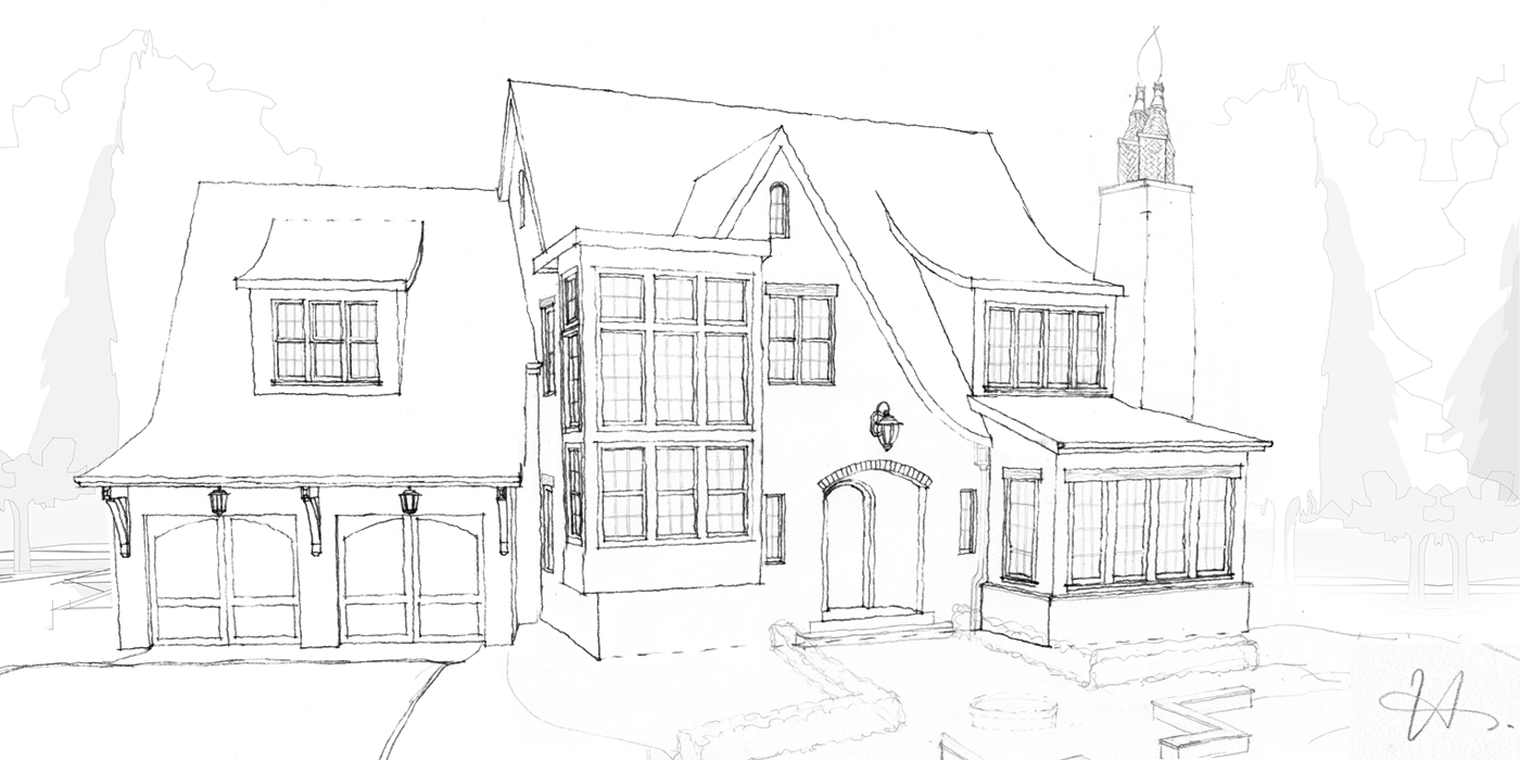 Hand Drawn House Design by Hollie Whitehead - Verite Design Group Inc. - South Surrey, BC
