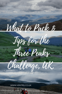 What to pack & tips for the Three Peaks Challenge - So you've signed up for the Three Peaks Challenge and you're probably wondering what to pack. Let me help! Here's my list of what I took and some extra tips. - Veritru