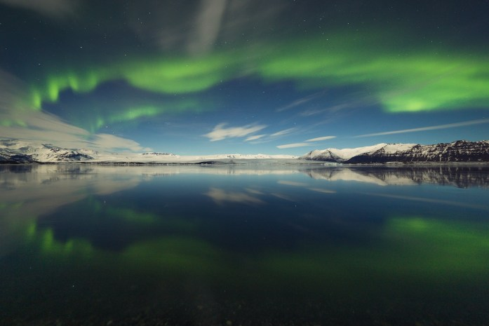 Northern lights over the lake Iceland