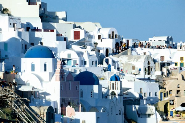 Queue for the Famous Oia Three Blue Domes Church - Honeymoon Part 2 - Oia in Santorini Greece is beautiful with its pretty caldera view, sunsets, windmills and quaint pedestrian streets, we headed here for our Honeymoon Part 2! - Greek Island, Europe - Veritru