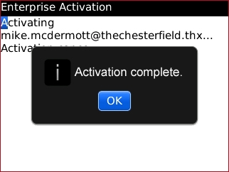 Enterprise Activation screen with OK