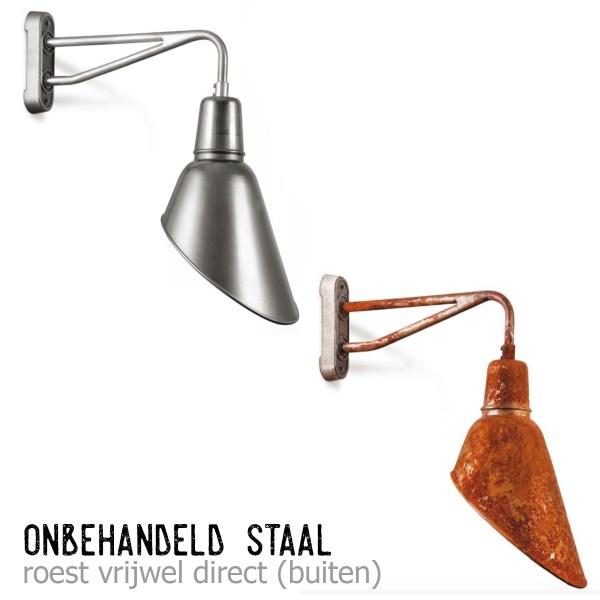 Hamburg wandlamp onbehandeld staal + roest