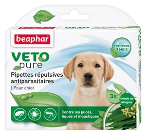 Beaphar – VETOpure, pipettes répulsives antiparasitaires – chiot – 3 pipettes