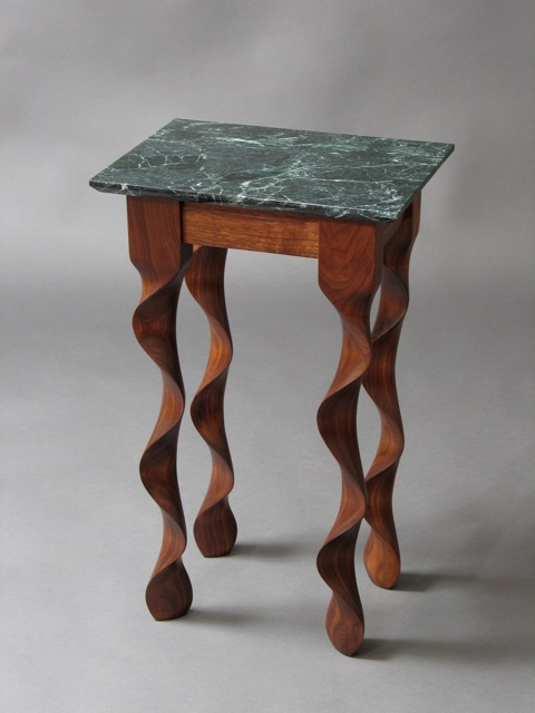 Modern End Table In Walnut With Green Marble Top By David Hurwitz