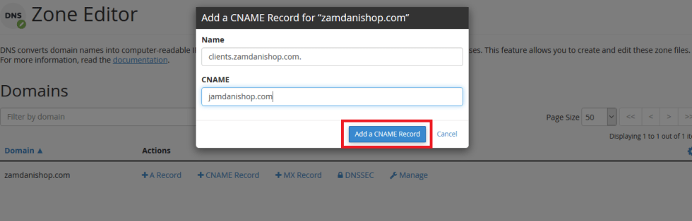 Add CNAME Record