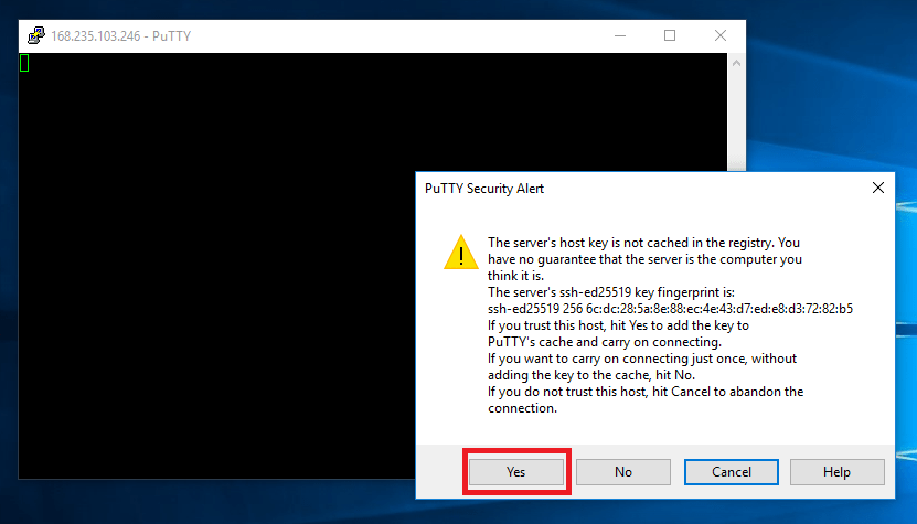Security Alert by PuTTy