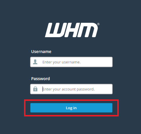 WHM Login Interface
