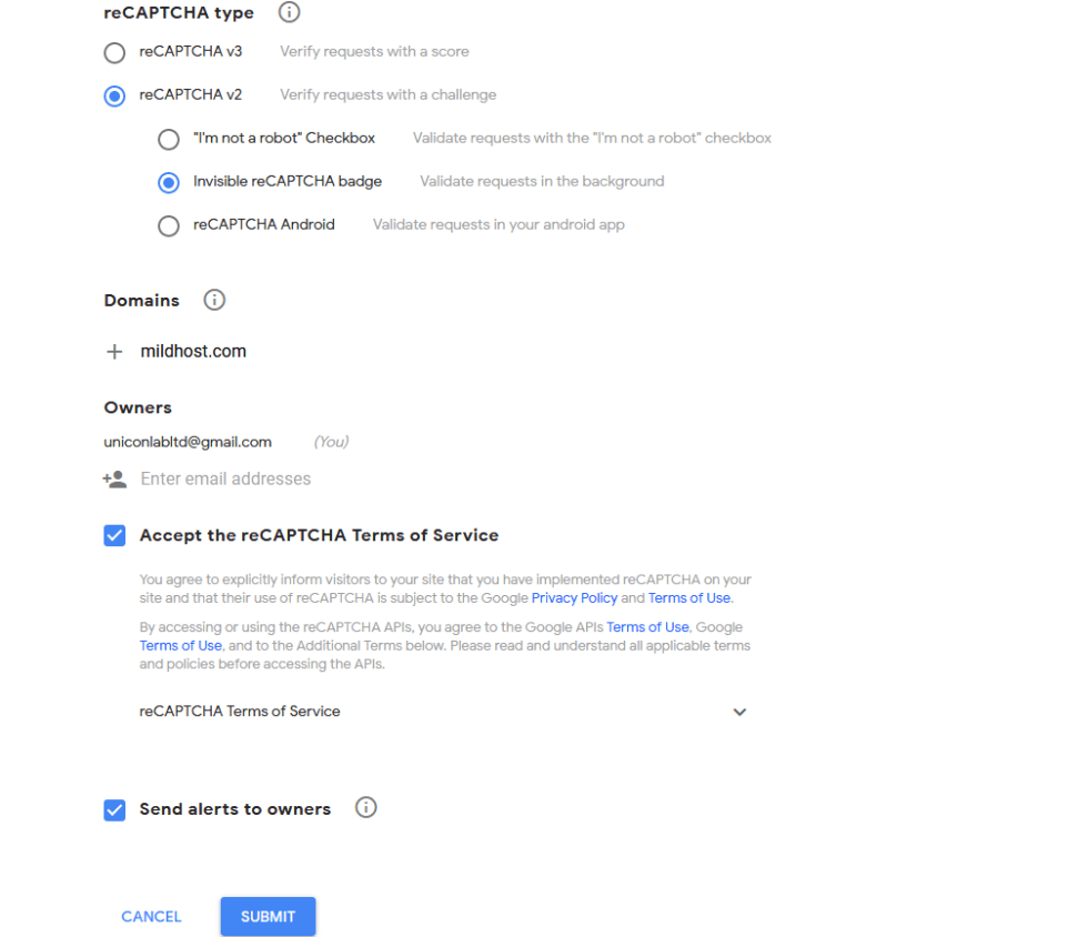 set domain for recaptcha