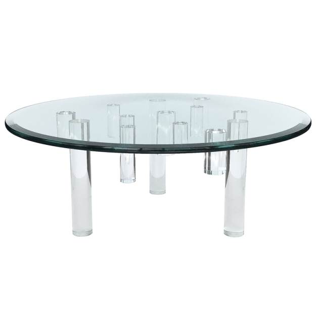scultpural lucite leg round glass top coffee table - vern + vera