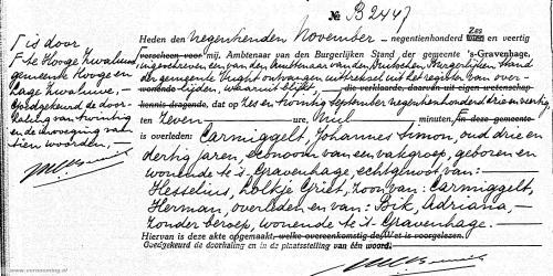 Overlijdensakte Johannes Simon Carmiggelt