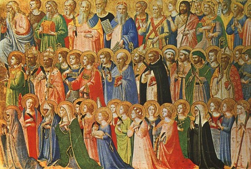 De verheerlijkte Christus te midden van de heiligen door Fra Angelico