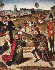 Abraham en Melchisedek door Dirk Bouts (1464-1467)