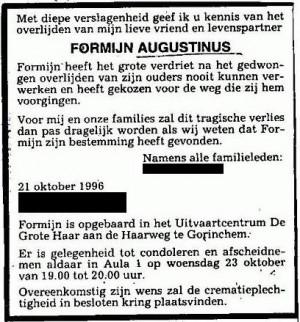 Overlijdensadvertentie Formijn Augustinus (CBG, namen en adressen nabestaanden verwijderd)