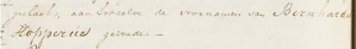 """Fragment uit de geboorteakte van Bernhardus Hopperus Buma: """"... aan hetzelve de voornamen van Bernhardus Hopperus gevende."""" (AlleFriezen.nl)"""