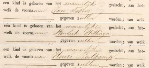 Fragmenten uit de geboorteaktes van Jan Takens Mellema, Hindrik Hillinga Smit en Henri Peerlkamp Richters
