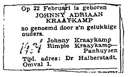 Geboorteadvertentie Johnny Kraaijkamp junior (CBG)