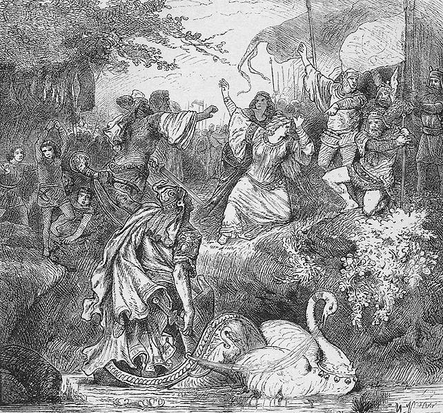 Lohengrin komt aan in Brabant (Otto von Leixner, Illustrierte Literaturgeschichte, Leipzig 1880)