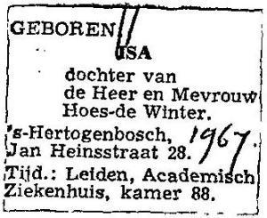 Geboorteadvertentie Isa Hoes (CBG)