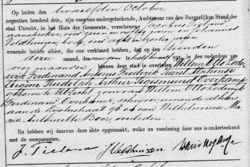 Overlijdensakte Willem Otto Lodewijk Ferdinand Antonie Frederik Karel Alphonse Eugène Rudolph Arthur Sigismund Overkamp