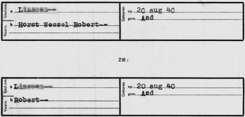 Verwijskaart (Horst Wessel) Robert L. (Stadsarchief Amsterdam)