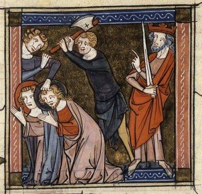 De onthoofding van de heilige Primus en zijn broer Felicianus (uit een 14e-eeuws manuscript van de Legenda aurea)