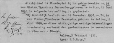 Dit papiertje is op de geboorteakte van Theodorus Bernardus Bloten geplakt.