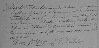 Akte van naamsaanneming Dirk Folkerts Treklof, Veenwouden 1811 (Tresoar)