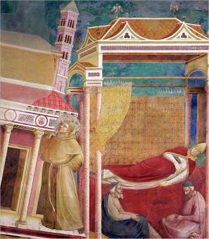 Giotto (1266–1337): Paus Innocentius III droomt dat Franciscus van Assisi de instortende kerk overeind houdt