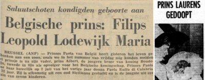 Prins Filips en prins Laurens - De Friese Koerier (14 april 1960) en De Tijd (23 oktober 1963)
