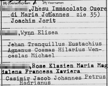 Fragment archiefkaart Peter Heliczer (Stadsarchief Amsterdam) - de voornamen van zoon Jhesu pasten er niet helemaal op