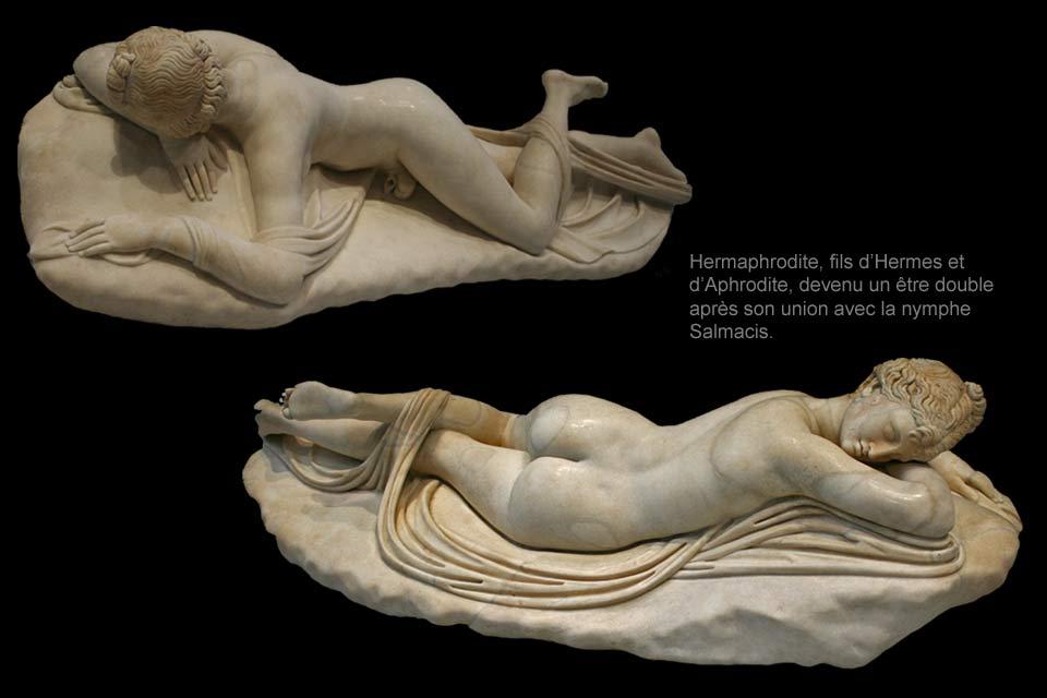 """Image result for Hermaphrodite, copie romaine d'un """"Hermaphrodite endormi"""" Vers 130-150 après J.-C."""
