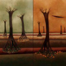 """The Four Season 48x24"""" Acrylic on canvas, 1999  SOLD"""