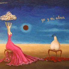 """Yo y mi Alma 7x5"""" Acrylic on canvas, 2011  SOLD"""