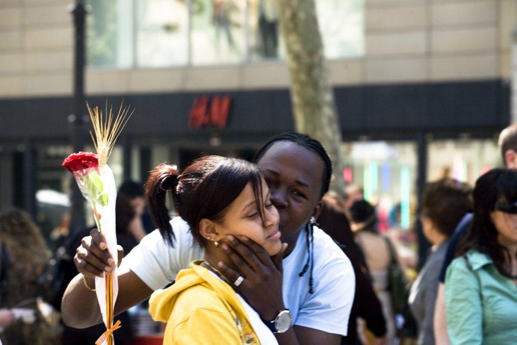 Foreign couple celebrating Sant Jordi