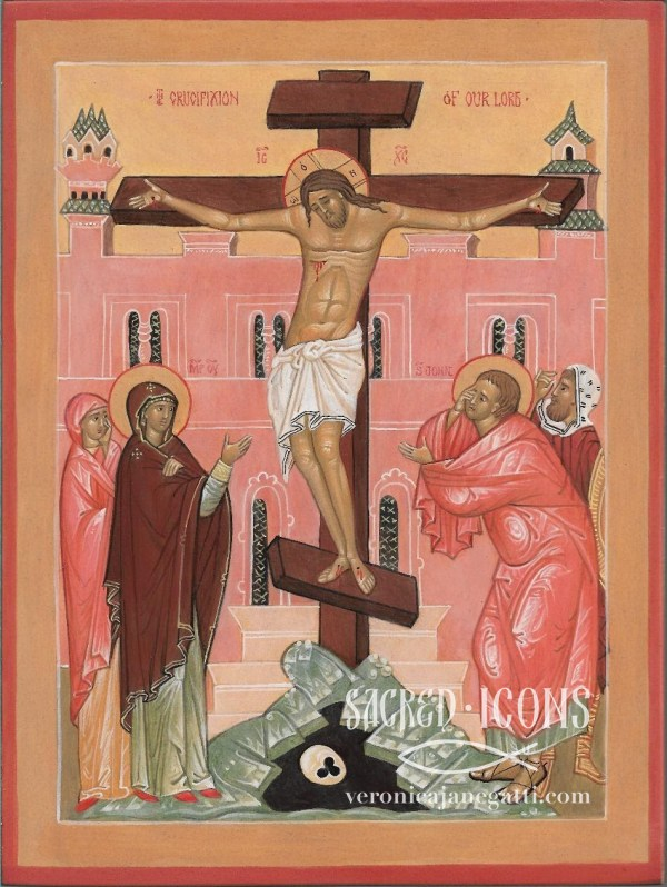 The Crucifixion - This small icon is made by traditional egg yolk tempera and natural pigments: the background and halos are painted with yellow ochre instead of gold, as we can see in many icons from the past.