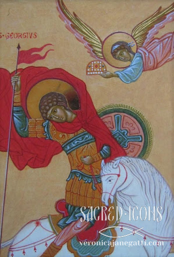 Saint George, small icon, detail, 2012.
