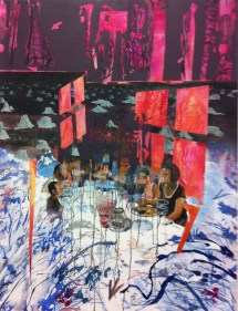 """Veronica Reeves, Lets Taste the Future Together, 2015, acrylic, oil, and spraypaint on linen, 40""""x46"""""""