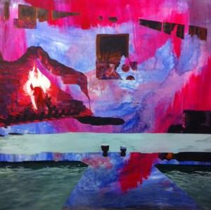 "Fire Spell, 2014, acrylic on canvas, 42"" x 42"""